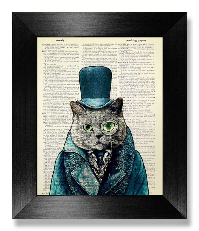 GEEKERY Cat Lover GIFT Man Office Decor, STEAMPUNK Top Hat Cat Painting,  Original Artwork