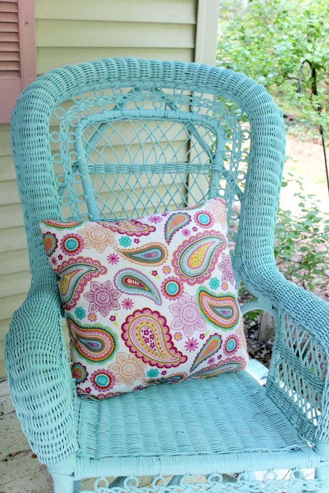 ocean blue spray painted wicker rocker