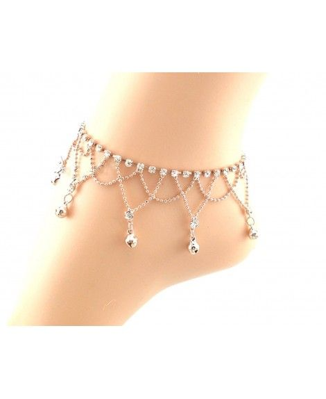 JY Jewelry Silver Tone Chain with Metal Beads and Hearts Charms Anklet