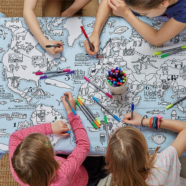 World Map Coloring Tablecloth Unique Gifts For Kids Maps For Kids Kits For Kids