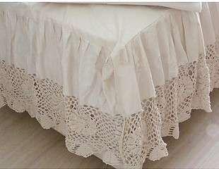 Vintage Crochet Lace Bed Skirts | Super King Crochet Lace Bed Skirt Sheet Set 198cmx203cm