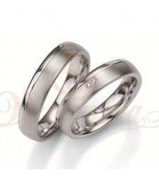 Ασημένιες βέρες γάμου με διαμάντι - breuning - 8021-8022