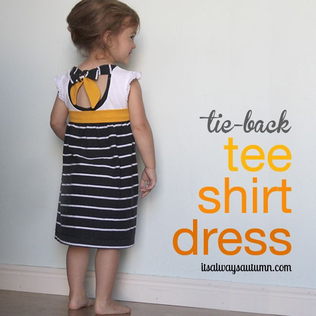 Recycler deux Tshirt en robe pour petite fille : joli cadeau d'anniversaire à faire pour une miss très spéciale avec deux Tshirt que Papa ne met plus ! - sewing tutorial! super easy dress upcycled from two t-shirts