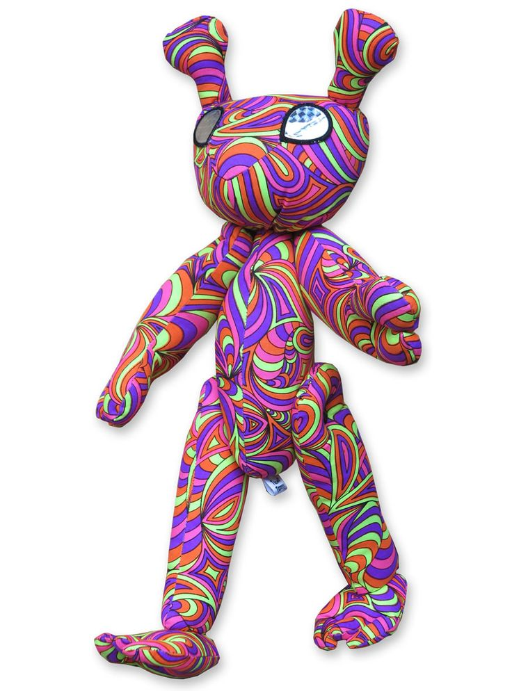 Alien-a-Ted : Candy Splash  Space Tribe Alien ! Approximately 40 cm tall. UV Active ! Movable arms & legs. Holographic plastic eyes.