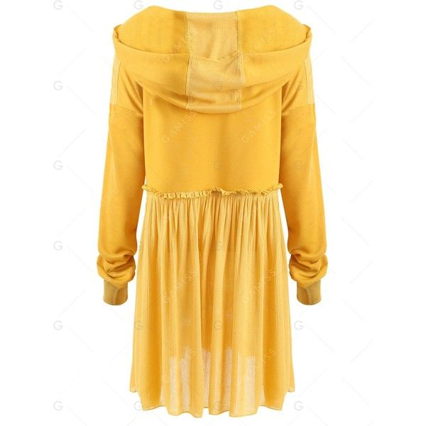 Yellow 3xl Crinkle Plus Size Smock Hooded Top ($18) ❤ liked on Polyvore featuring tops, hooded top, smock top, crinkle top, smocked top and plus size tops