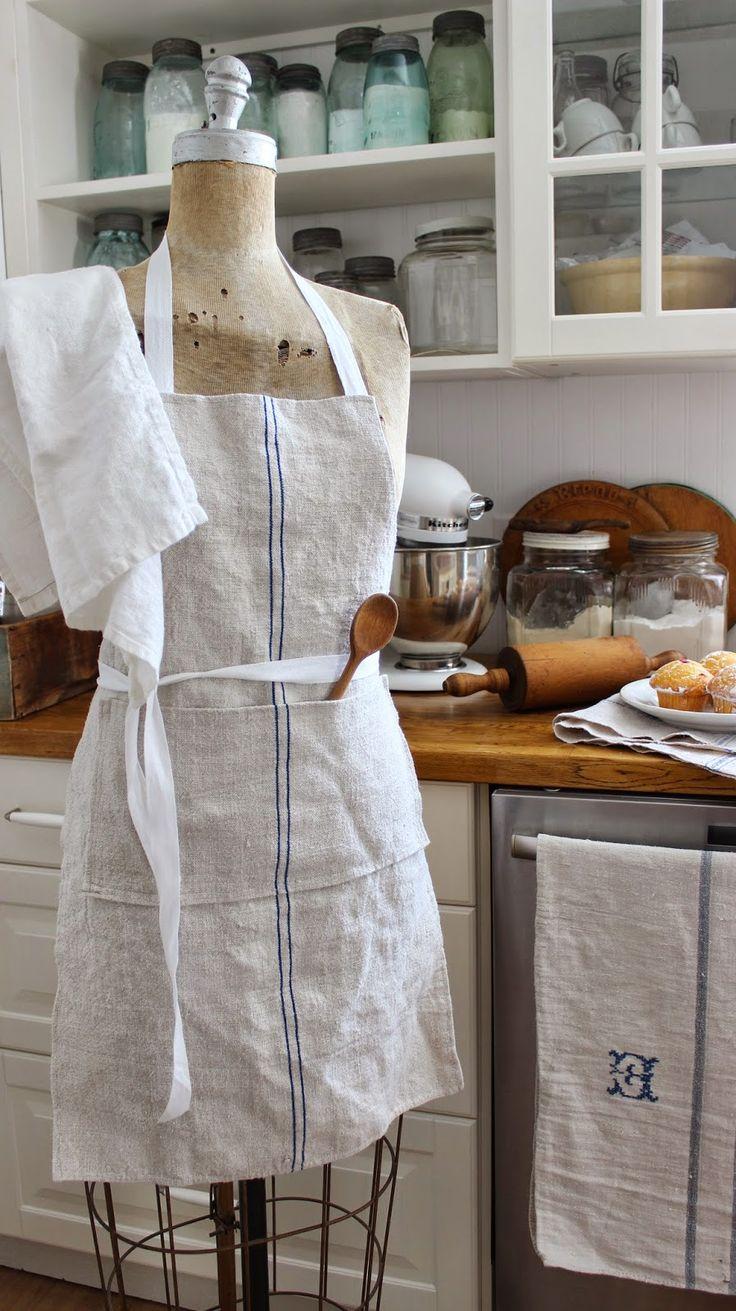 White apron big w - Linen Apron