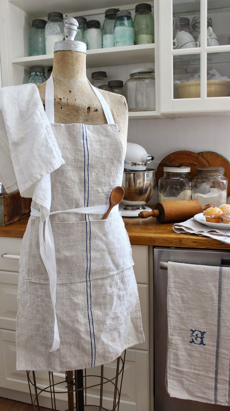 White apron meat company - Linen Apron