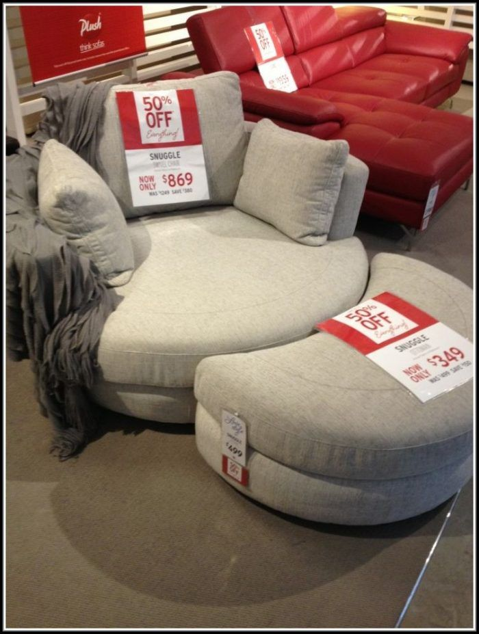 Oversized Round Swivel Chair With Cup Holder Round