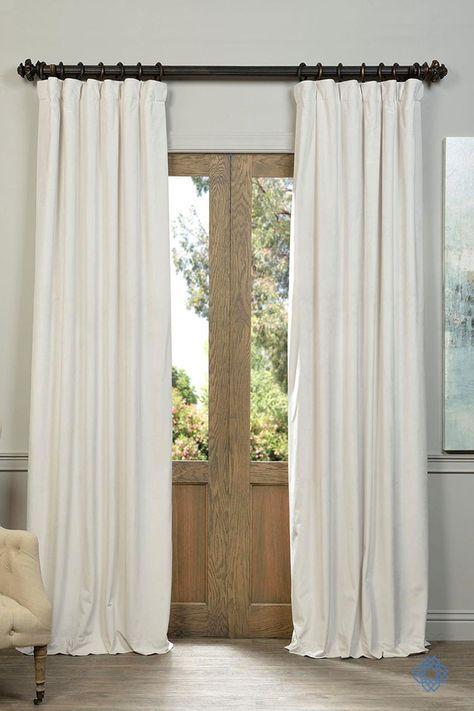 Half Price Drapes Off White Blackout Velvet Pole Pocket Single Panel Curtain,  50 X 84