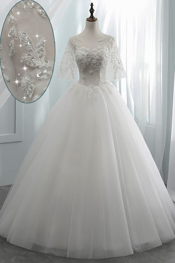[137.99] Amazing Tulle Scoop Neckline See-through Bodice Ball Gown Wedding Dress With Beaded Lace Appliques