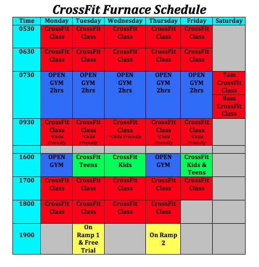 CrossFIt FUrnace Class timetable