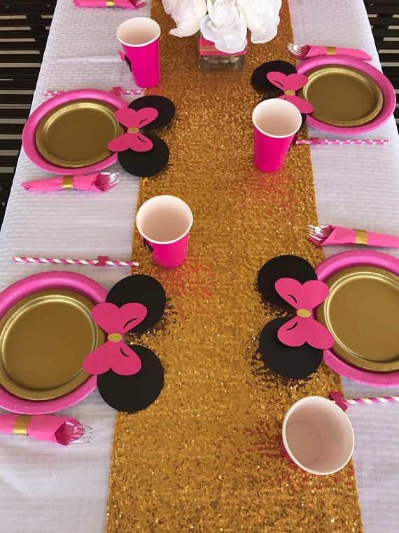 10 Hot Pink Gold Minnie Mouse Birthday Table set plates straws cups 3d red Mickey