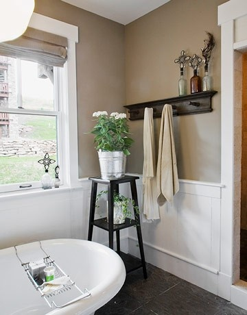 Tan walls, white trim, dark wood decor ... I would also add aloe green accents- love this neutral bathroom