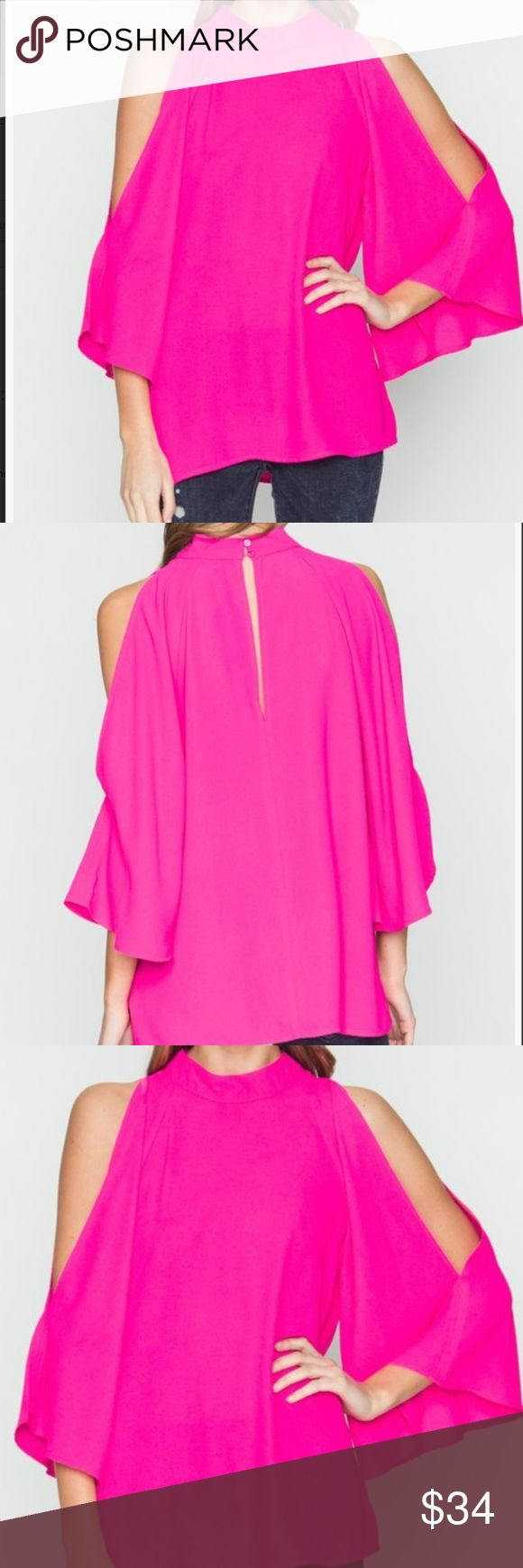 New w/tags Hot Pink Split Sleeve Blouse This hot pink blouse is the perfect pop of color for your wardrobe. Pair it with your favorite skinnies for an easy, breezy , chic look.  Description:  Hot pink cold shoulder blouse with split sleeve and exposed shoulders  Button closure at back of neck  100% Polyester Very J Tops Blouses