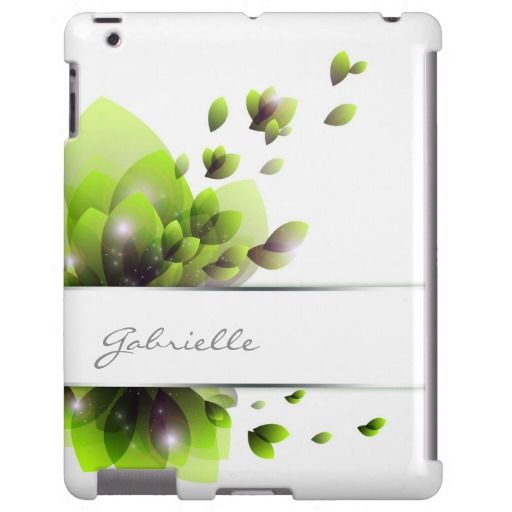#abstract #green #leaves with your name - #personalized #ipad #case #cover