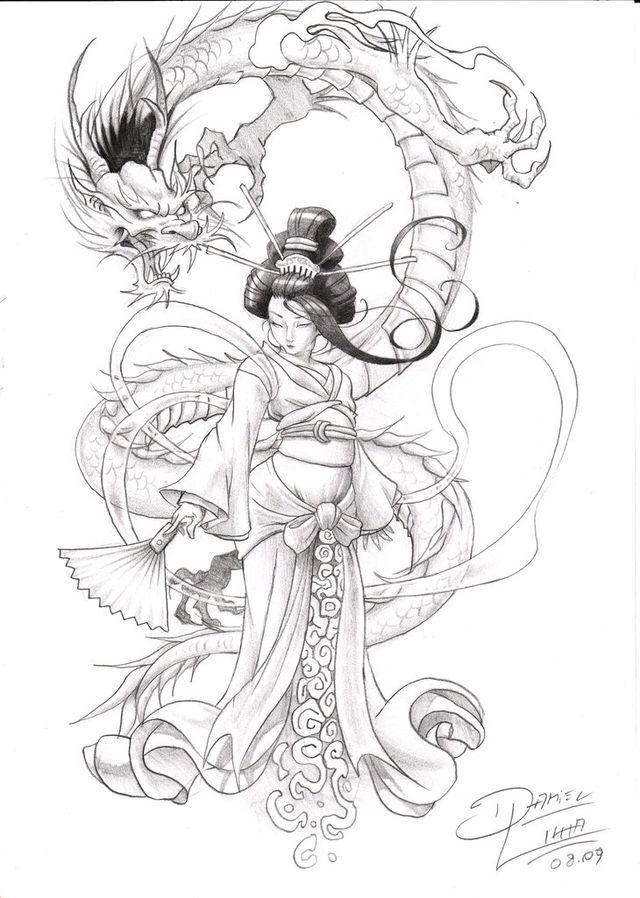Dragon and geisha design                                                       …