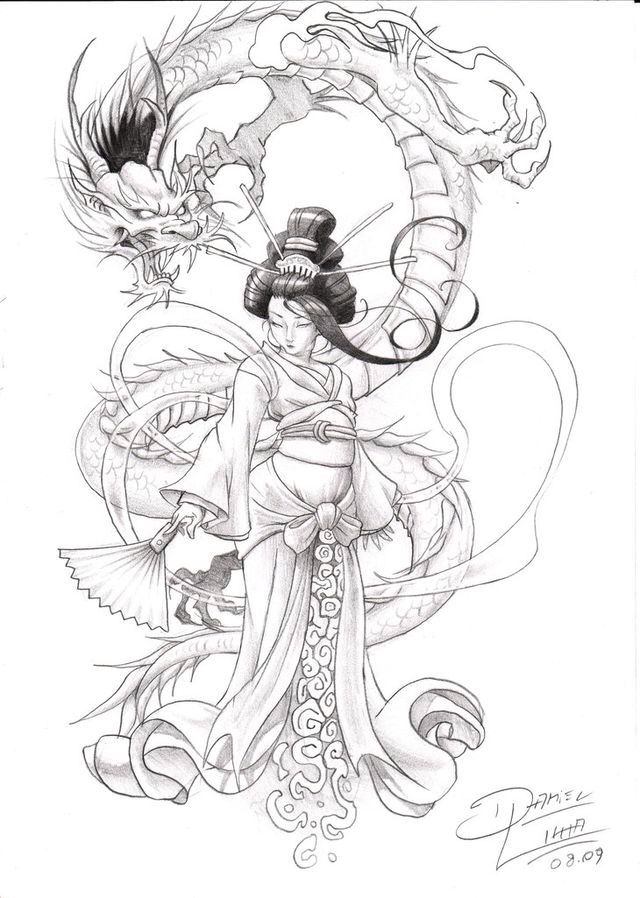 Dragon and geisha design                                                       …