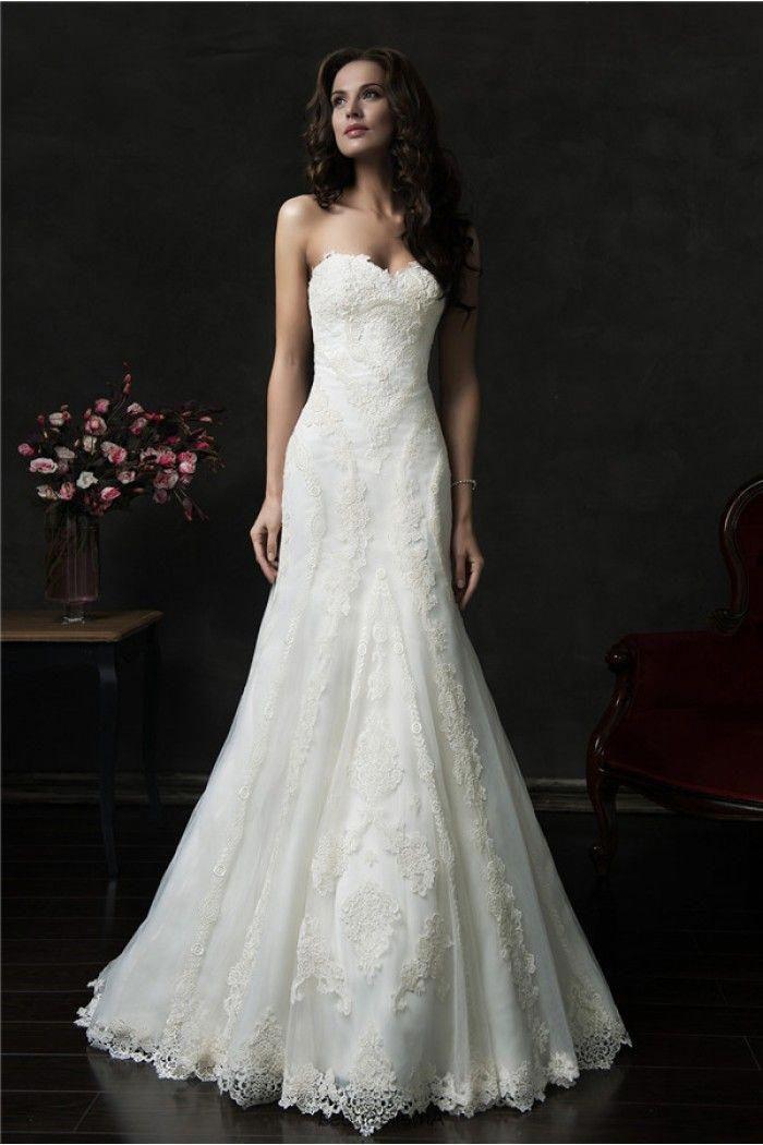 Elegant Trumpet Mermaid Strapless Vintage Lace Wedding Dress With Buttons #uniquelaceweddingdresses