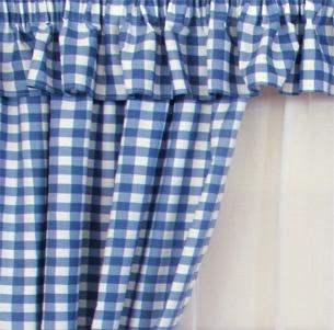 Gingham Blue Kitchen Curtains