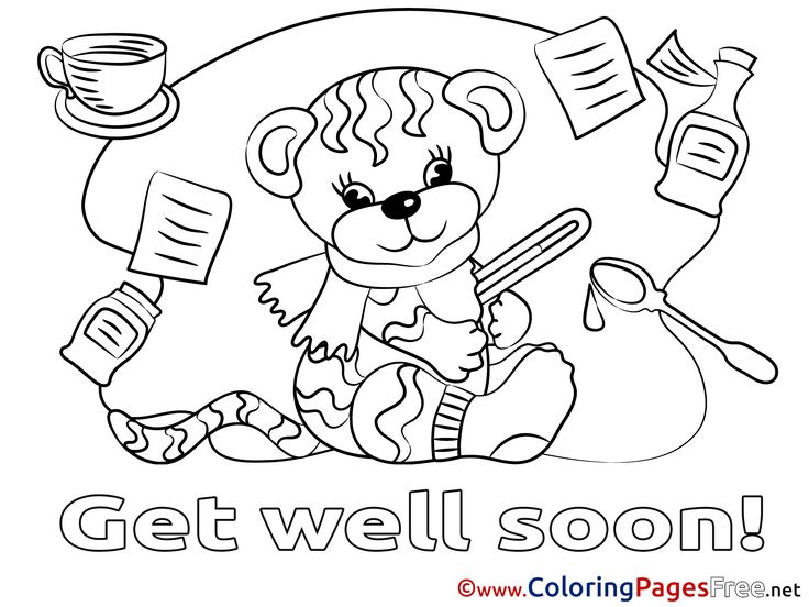 Get Well Coloring Pages Get Well Soon Coloring Page Free