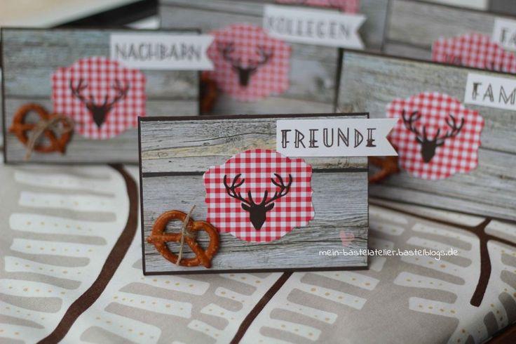 Bayerische Brezel Hirsch Tischdekoration Geburtstag Karte