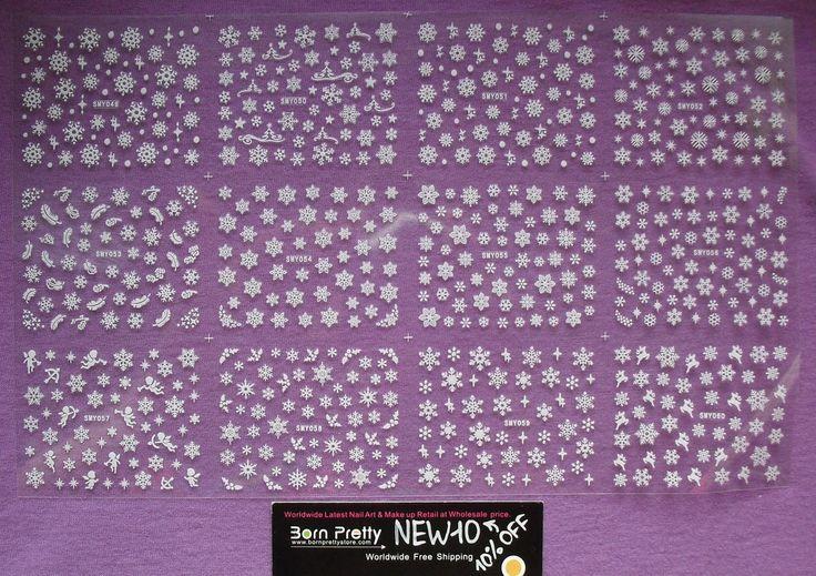 Обо всём и ни о чём: 3D наклейки для ногтей 'Снежинки' / Snowflake 3D Nail Stickers Christmas Stickers от BornPrettyStore