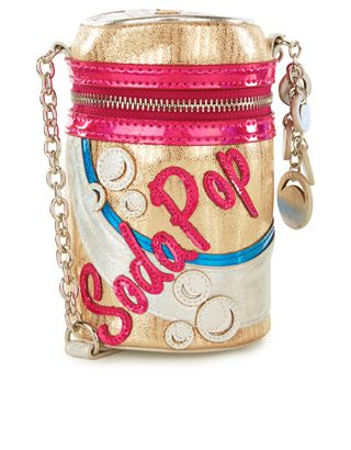 Giving outfits a little extra fizz, our soda can novelty bag is designed with a metallic gold, silver and pink aesthetic, and holographic bubble charms. Featuring a zip-around fastening, this instant style refresher also has a contrast lining and an adjustable shoulder strap.