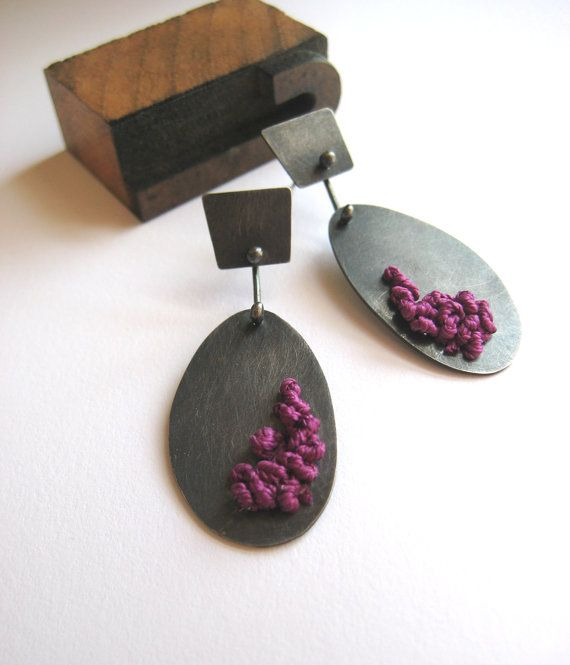 ETSY Sterling Silver Knotted Earrings Plum by LaurenMarkleyJewelry, $90.00