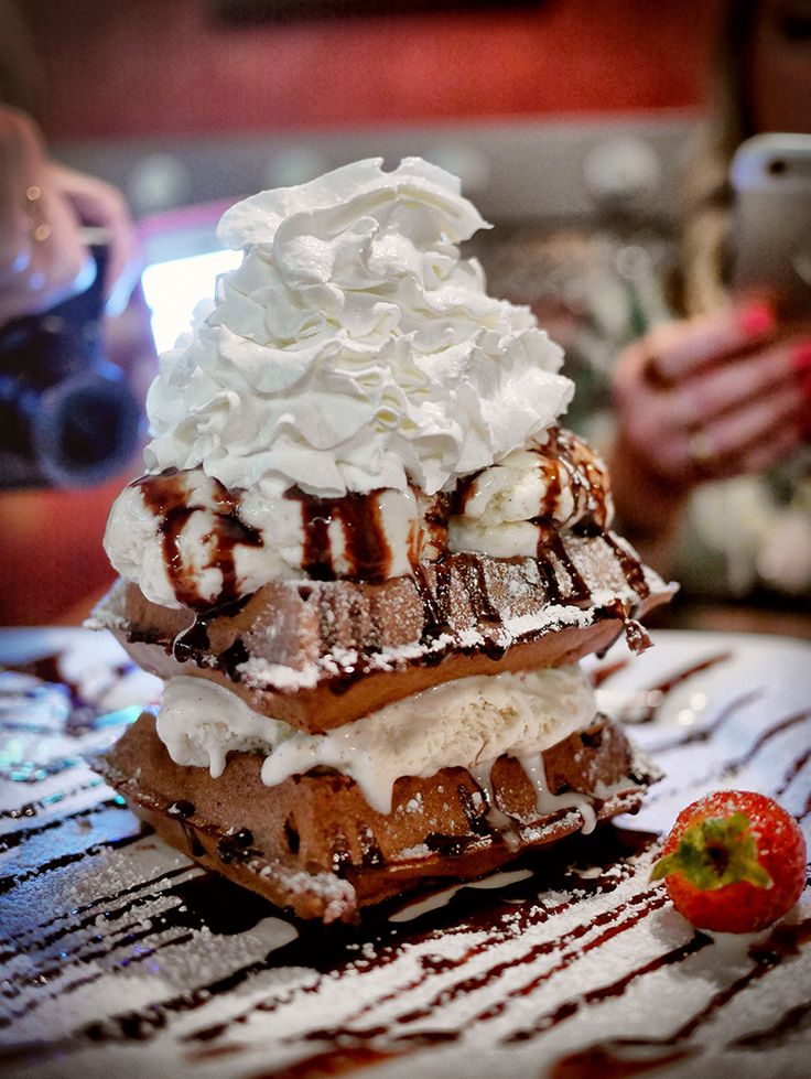 A HUGE list of the best sweet treats in Vegas, like these Chocolate Waffles