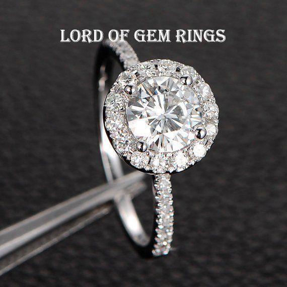 Round Moissanite Engagement Ring Pave Moissanite Wedding 14K White Gold 6.5mm