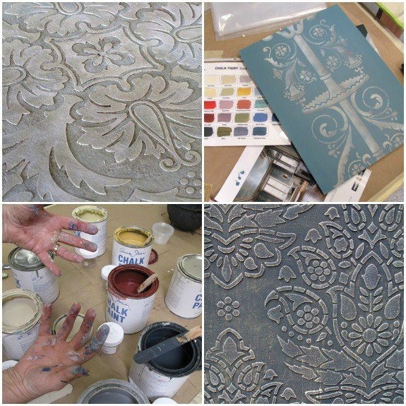 Lovely samples made with Chalk Paint® decorative paint & stencils.  Stencils from TL: Modello® Designs Tile Pattern, Pompeii Pedestal Stencil, Indian Paisley Damask