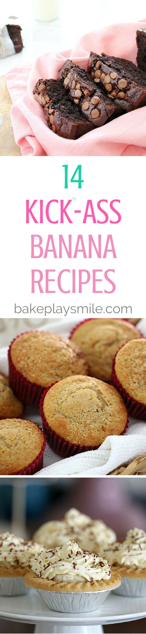 Recipes For Using Up Ripe Bananas! 14 of the BEST banana recipes... from cakes to muffins, desserts to loaves, smoothies to cupcakes! #banana #recipes #baking #easy