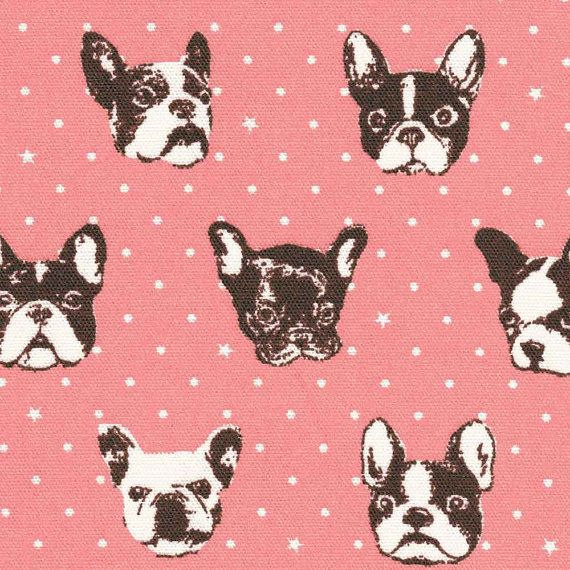 Kokka French Bulldog Pink Japanese import Oxford Cotton fabric 1/2 yard on Etsy, $7.99