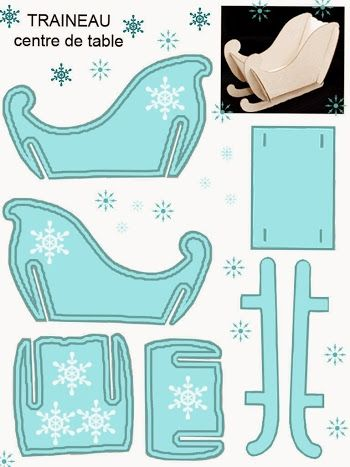 Light Blue Free Printable Sleigh.