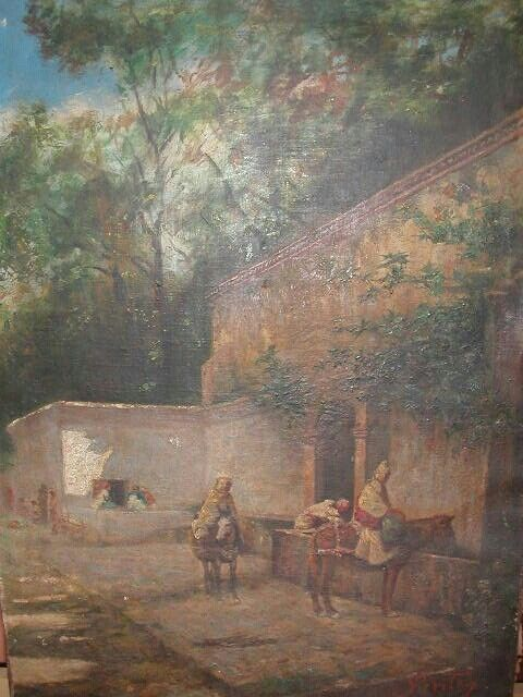 Joseph Sintes (Alaior 1829 - Alger 1913) Titre «Ancienne fontaine du Jardin d'Essai à Alger »