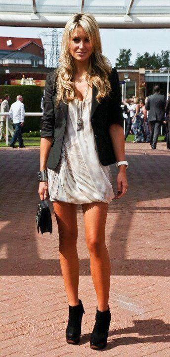 """I love how all of these """"lengths"""" work. Length of her jacket to her dress, and perfect leg showing for a sexy blazer look."""