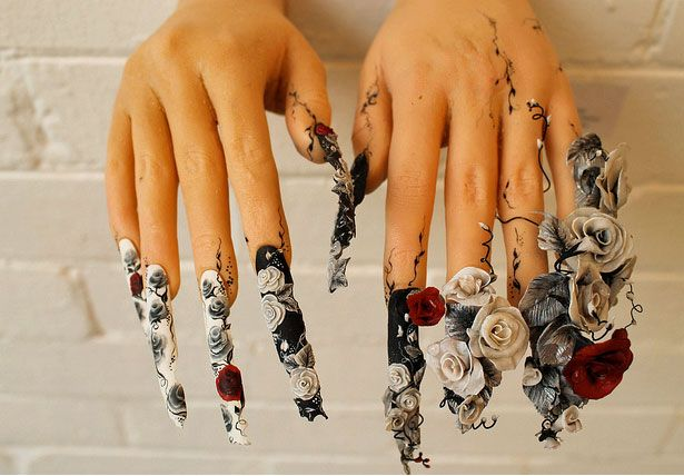 Fierce Fingernails: New Exhibition Of Nail Art: Monochrome Rose Nails