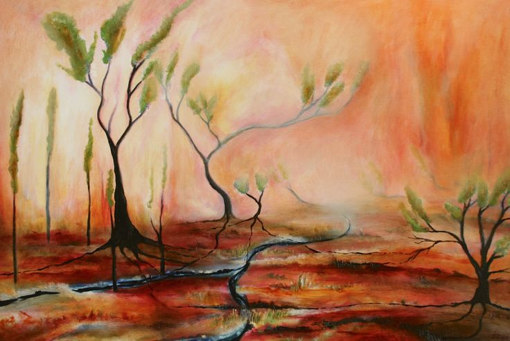 """""""Wildfire"""" by Daniel Rigos. Abstract Surreal Landscape Oil Painting for Sale on Bluethumb - Online Art Gallery, Australia. 92cm (W) x 61cm (H) - $850 AUD"""