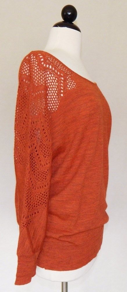 KNITTED & KNOTTED ANTHROPOLOGIE Heather Orange Open Weave Sleeve Wool Sweater L #Anthropologie #BoatNeck