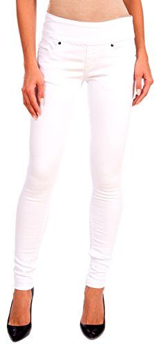 LOLA Womens Anna Pull On Stretch Denim Skinny Jeans White Size 10