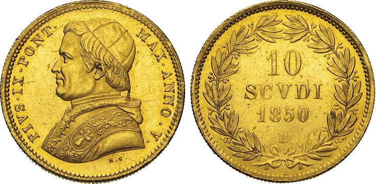 NumisBids: Numismatica Varesi s.a.s. Auction 65, Lot 849 : PIO IX (1846-1878) 10 Scudi 1850 V, Roma. Pag. 348 Au Molto...