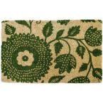 Penelope Floral 22 in. x 35 in. Hand Woven Coconut Fiber Door Mat, Green/Tan