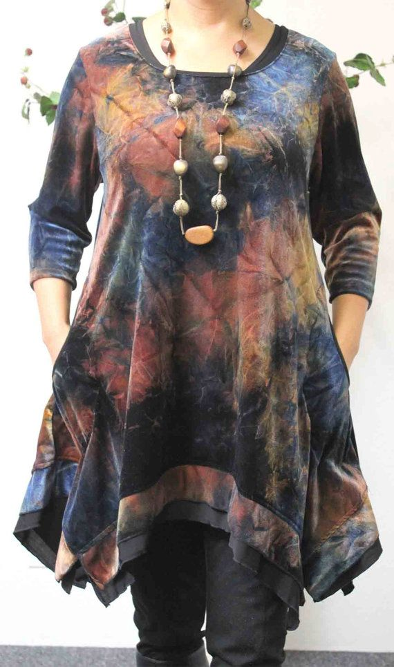 Exclusive Plus size top, Lagenlook, boho, High end Velvet fabric in Exotic Print…
