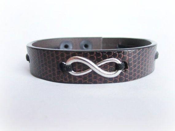 Men's infinity bracelet men's leather bracelet by Bravemenjewelry