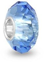 Bling Jewelry Blue Faceted Crystal Simulated Topaz Glass .925 Sterling Silver Charm Bead.