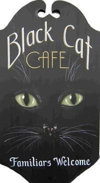 """""""Black Cat Café ~ Familiars Welcome"""" ~ painted Halloween sign with feline face 