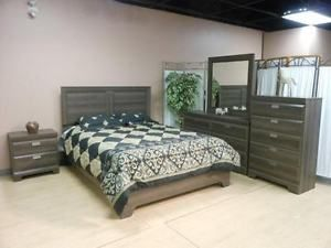 Fancy Brand new beautiful piece GREY bedroom suite dressers wardrobes Saskatoon