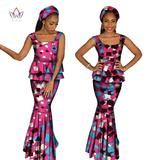 African  Clothing For Women Two Piece Set Ruffles Top and Skirt Set Africa Print Dashiki O-Neck Plus Size set  African WY1067