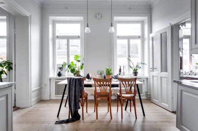 Simple dining space in an elegant and calm Stockholm apartment - Alexander White.