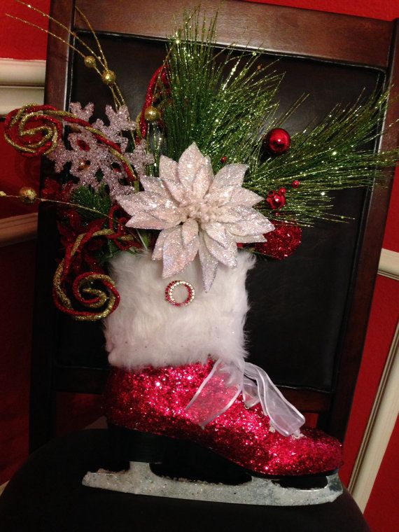 Glittered Ice Skate with Christmas bouquet. Upcycled and ...